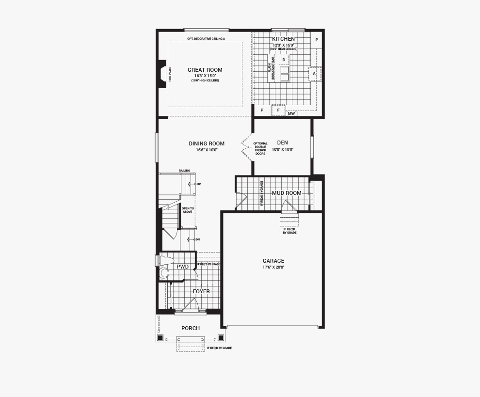 Floorplan of the main floor of the 5 bedroom Waverley home design, a 36' Single Family Home available for sale in Brookline, Kanata.