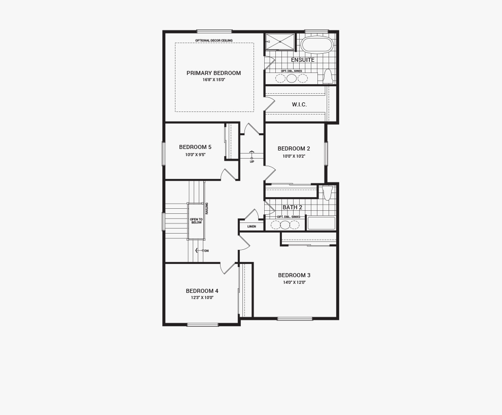 Floorplan of the second floor of the 5 bedroom Waverley home design, a 36' Single Family Home available for sale in Brookline, Kanata.