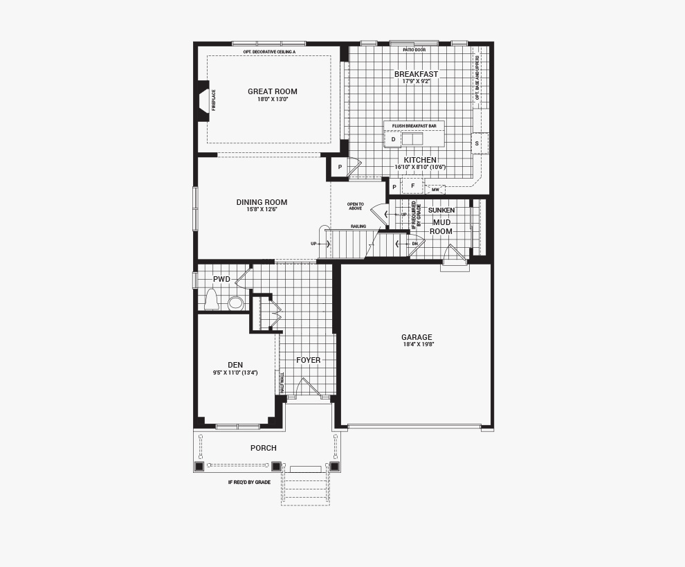 Floorplan of the main floor of the 5 bedroom Mackenzie home design, a 43' Single Family Home available for sale in Brookline, Kanata.