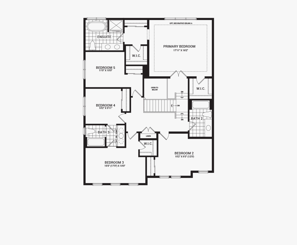 Floorplan of the second floor of the 5 bedroom Mackenzie home design, a 43' Single Family Home available for sale in Brookline, Kanata.