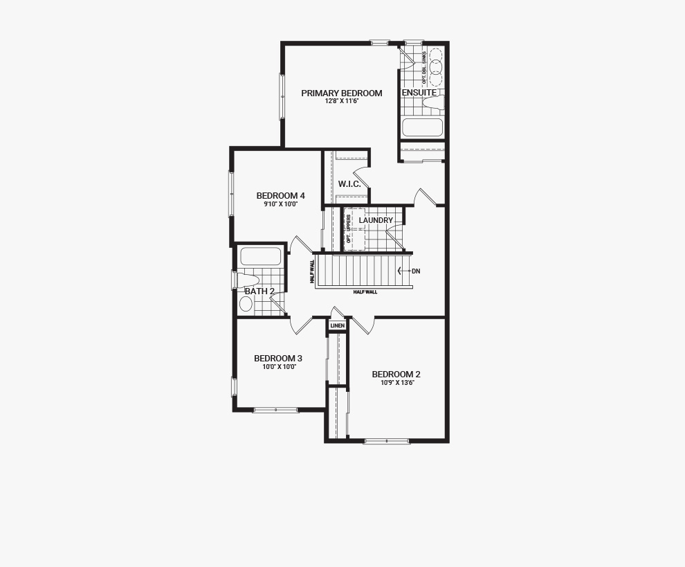 Floorplan of the second floor of the 4 bedroom Jefferson Corner home design, a 30' Single Family Home available for sale in Avalon, Orleans.