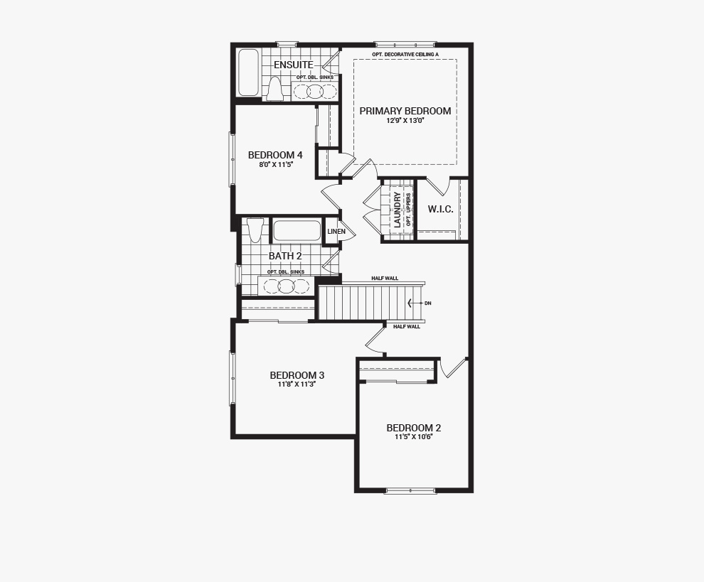 Floorplan of the second floor of the 4 bedroom Talbot Corner home design, a 30' Single Family Home available for sale in Avalon, Orleans.