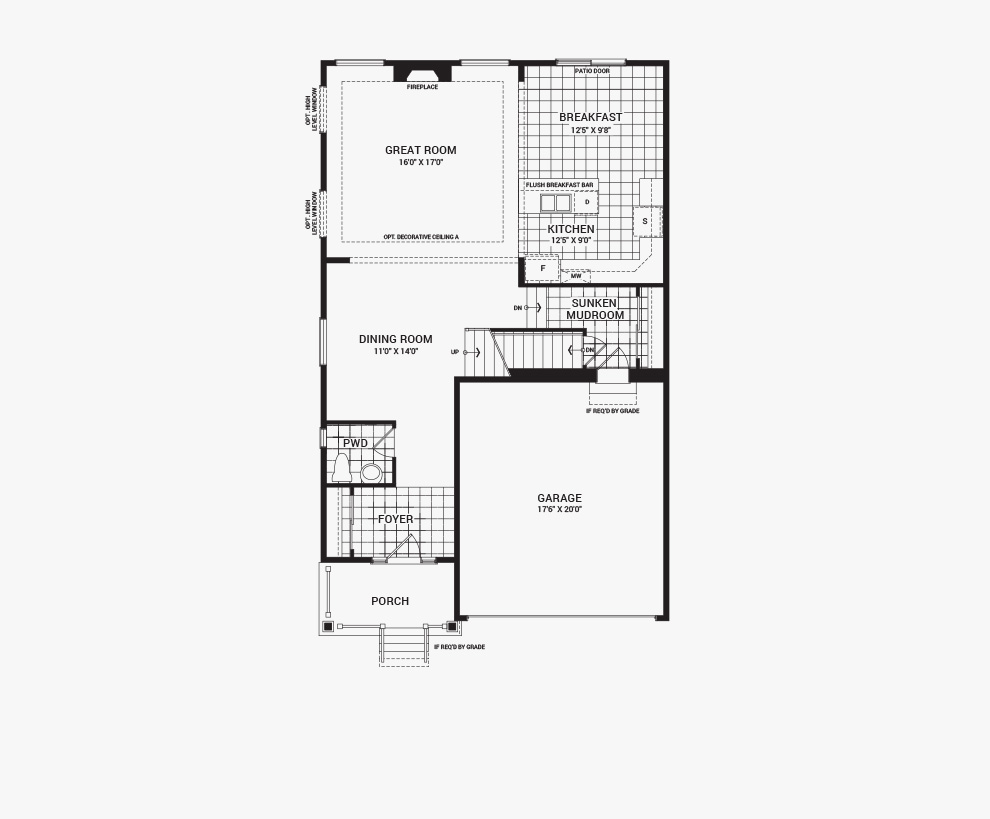 Floorplan of the main floor of the 4 bedroom Fairbank home design, a 36' Single Family Home available for sale in Avalon, Orleans.