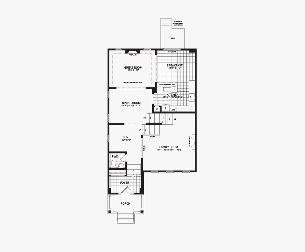 Floorplan of the main floor of the 4 bedroom Killarney home design, a 36' Single Family Home available for sale in Avalon, Orleans.