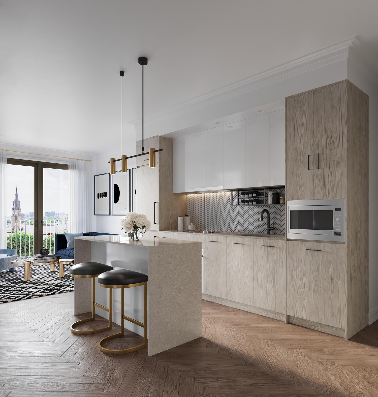 Kitchen and living space of suite at 123 Portland. New condo building in King West, Toronto. Minto Communities.
