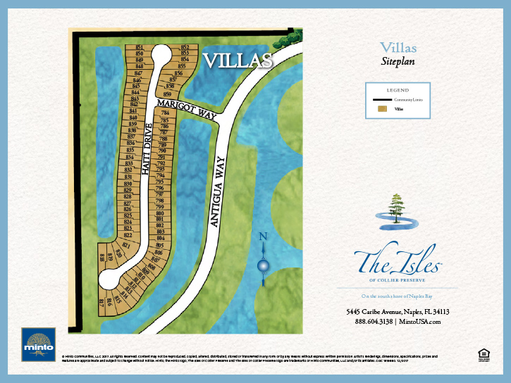 The Isles of Collier Preserve Luxury Villas Site Plan #2. New homes for sale in Naples, Florida by Minto Communities.