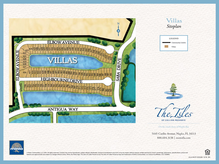 The Isles of Collier Preserve Luxury Villas Site Plan. New homes for sale in Naples, Florida by Minto Communities.