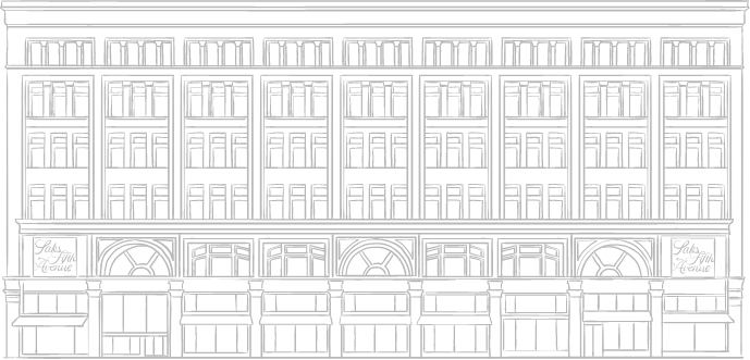 Sketch of Saks Fifth Avenue at the Eaton Centre. New condos for sale in downtown Toronto. The Saint by Minto Communities