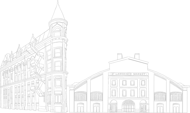 Sketch of St Lawrence Market and Flat Iron building in Toronto. New condos for sale at Church & Adelaide. The Saint by Minto Communities