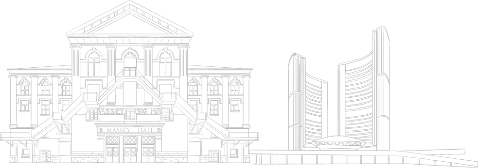 Sketch of Toronto buildings. New condos for sale at Church and Adelaide. The Saint by Minto Communities