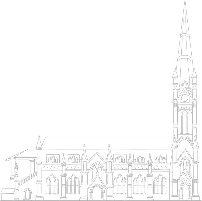 Sketch of St. Jame Cathedral in Downtown Toronto. New condos for sale at Church & Adelaide. The Saint by Minto Communities.