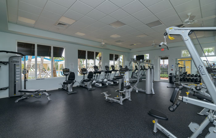 Private gym at the LakePark Clubhouse