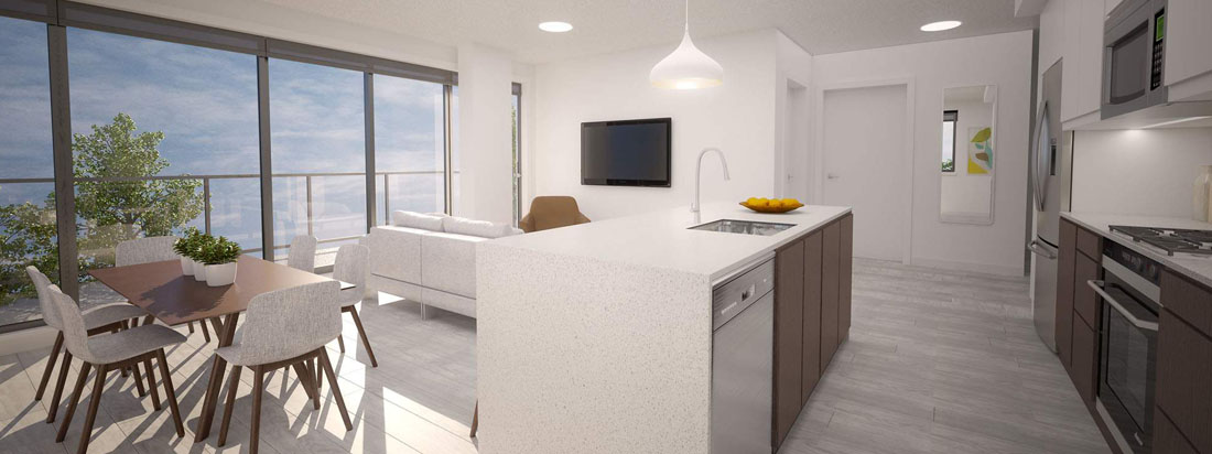 The Annex Kitchen and Living Room Rendering