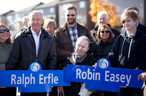 Street naming announcement in Quinn's Pointe - a community by Minto Communities-