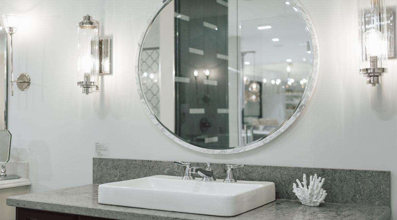 Modern bathroom lights and mirrors.