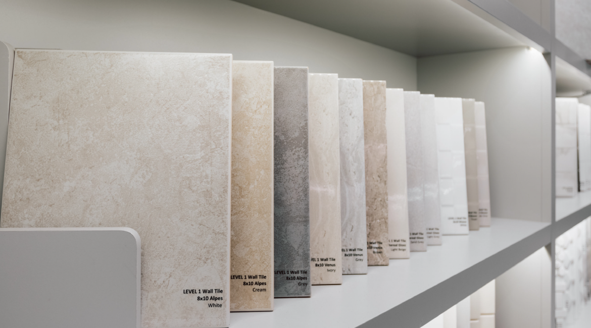 Different marble tiles available at the Minto Design Centre.