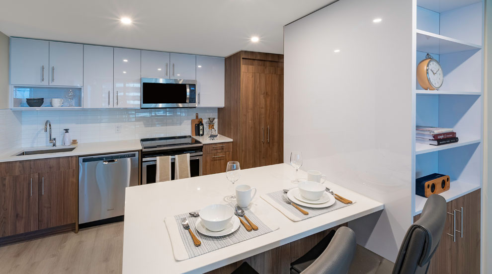 Kitchen in apartments for rent at The International in downtown Calgary