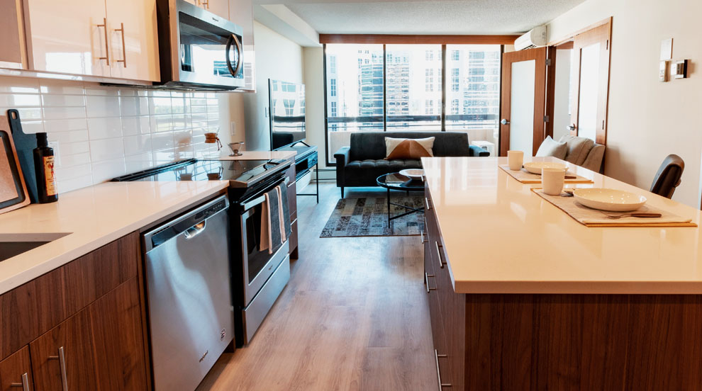 Kitchen in apartment rentals in downtown Calgary