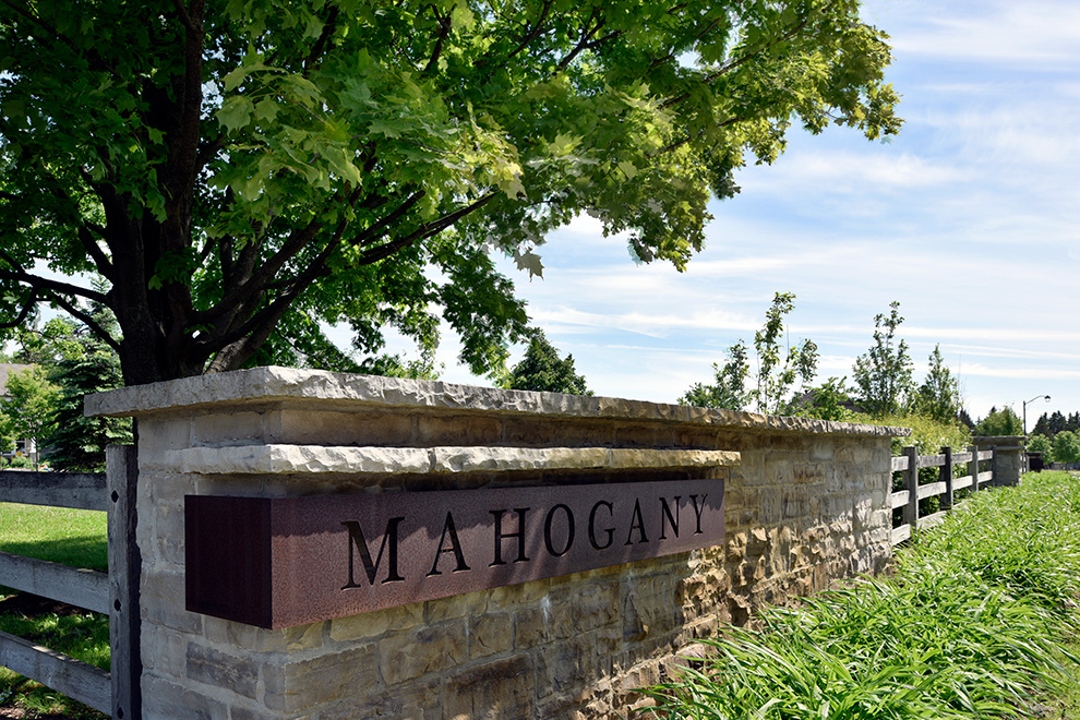 Mahogany community entrance sign - in Manotick, by Minto Communities