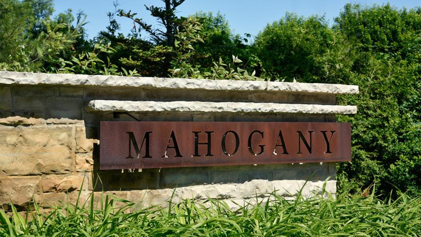 Mahogany community entrance feature