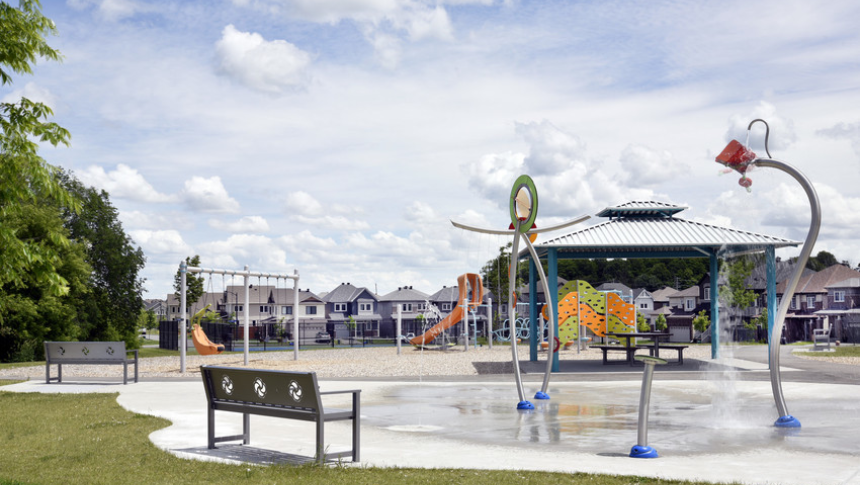 Play structure in Guiness Park in Quinn's Pointe, Barhaven - by Minto Communities