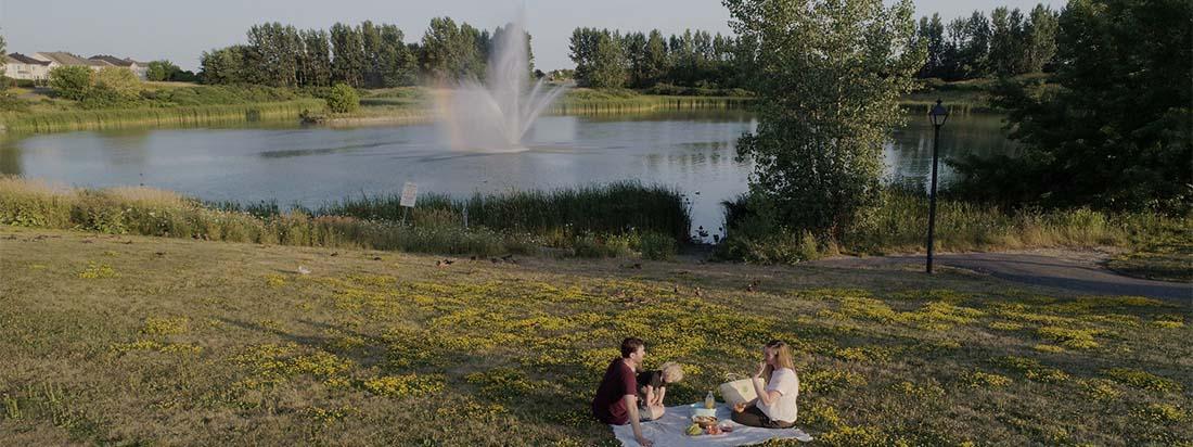 Family picnic near Avalon Aquaview Pond