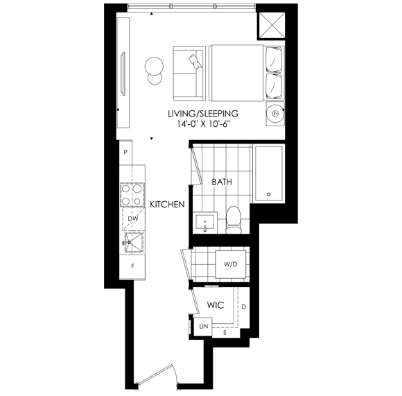 The Saint One Bedroom Floorplan