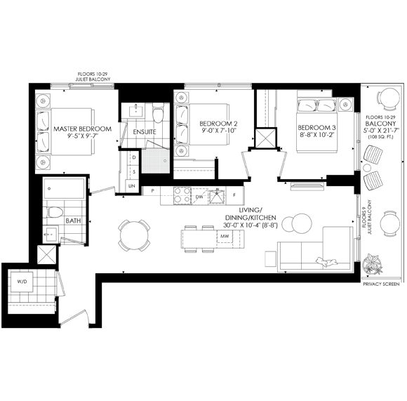 The Saint Three Bedroom Floorplan