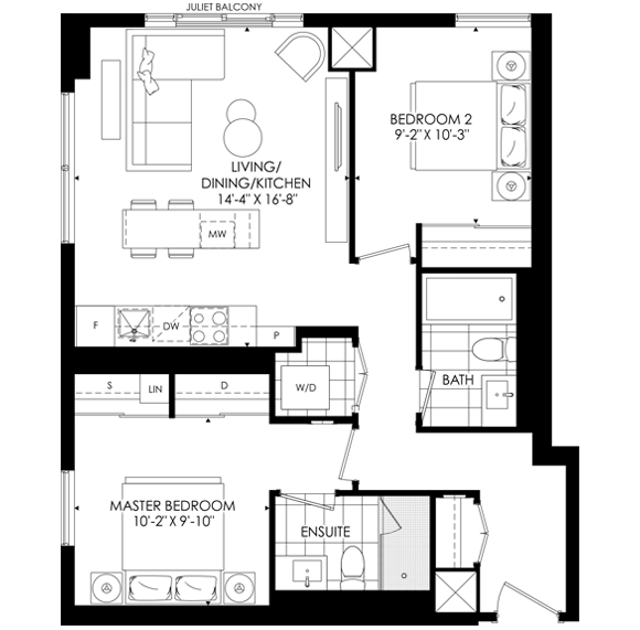 The Saint Two Bedroom Floorplan