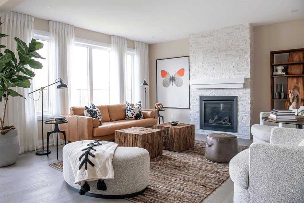 Brookline – Quinton: Living Room – Single Family Home