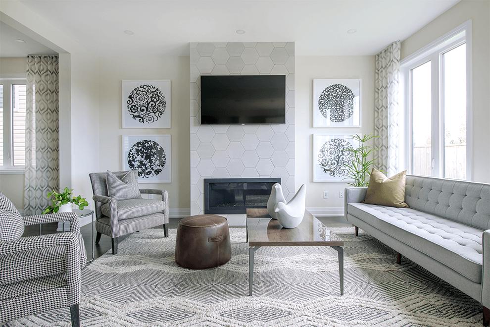 Brookline – Stanley: Living Room – Single Family Home