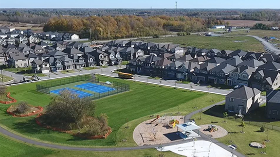 Drone footage of park in Quinn's Pointe, Barrhaven