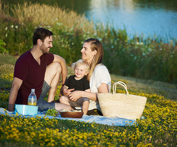 Family having a picnic in Avalon Aquaview