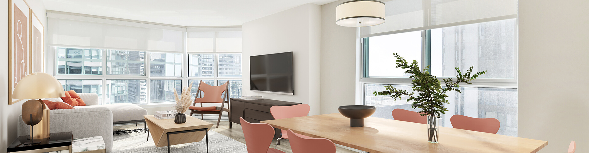 Modern living room at One80Five Apartments in Ottawa. Rent with Minto Apartments.