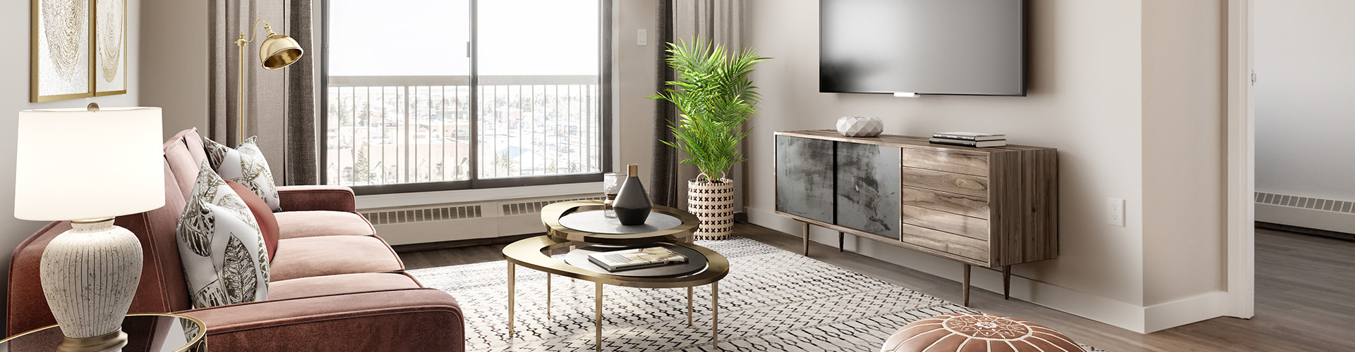Bohemian living room at Minto Apartments, Radisson Place in Calgary