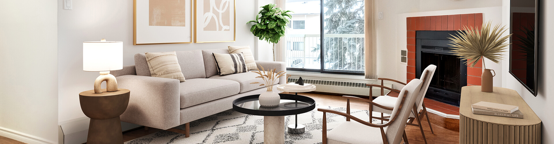 Modern living room at Woodlands Manor Apartments in Calgary. Rent with Minto Apartments.