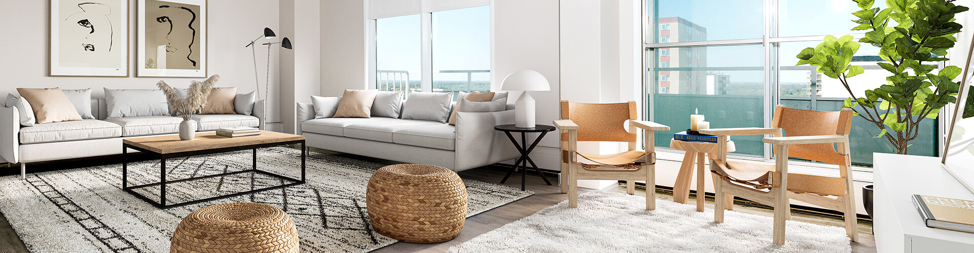 Beautiful living room at The Lancaster House Apartments in Montreal. Rent with Minto Apartments.