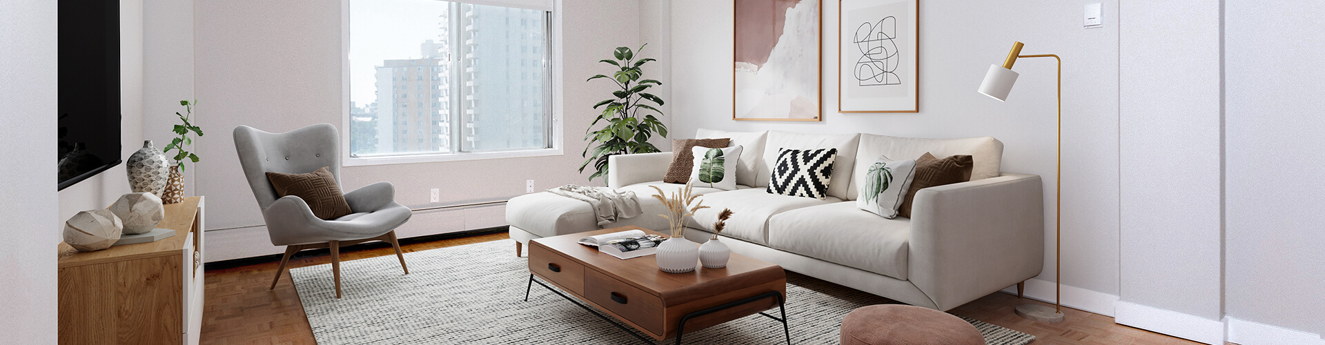 Stunning living room at The York House Apartments in Calgary. Rent with Minto Apartments.