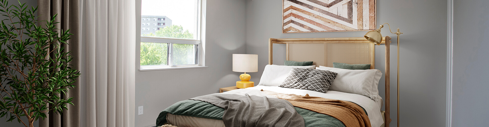 Cozy bedroom Proudfoot Lane Apartments in London. Rent with Minto Apartments.