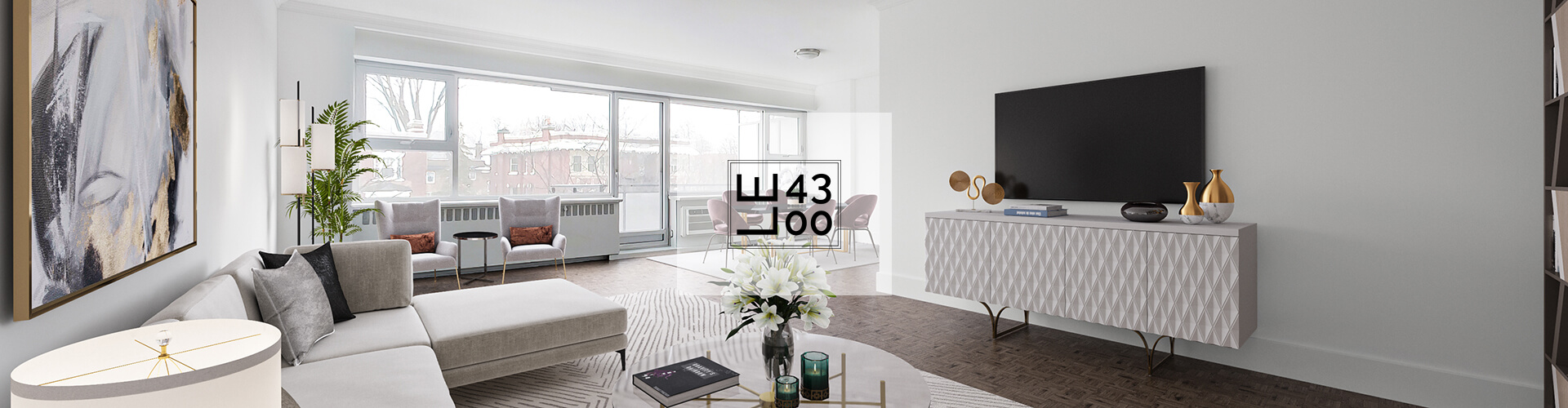 Modern living room at Le 4300 Apartments in Montreal. Rent with Minto Apartments.