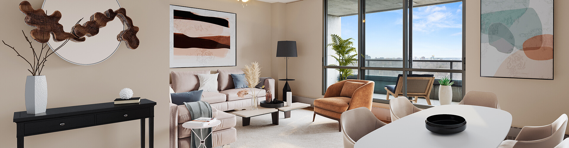 Modern living room at Castleview Apartments in Ottawa. Rent with Minto Apartments.