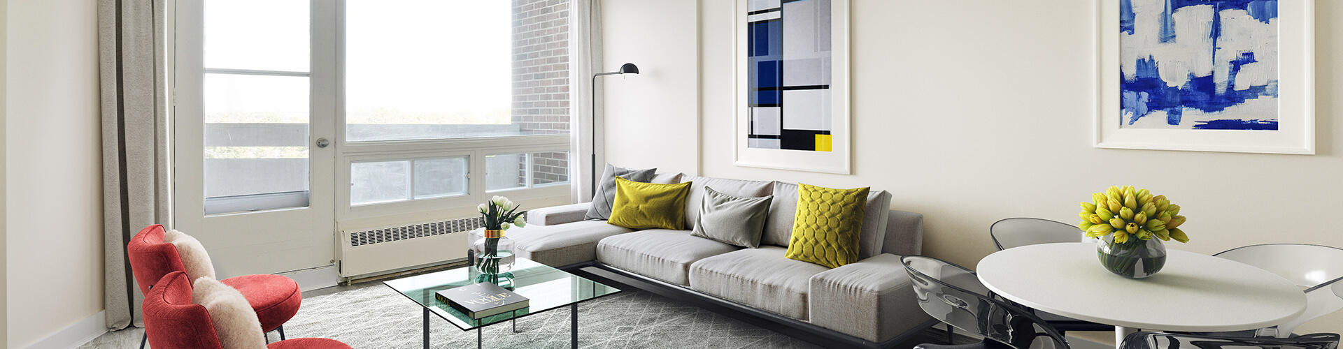 Beautiful living room at Parkwood Hills Apartments in Ottawa. Rent with Minto Apartments.