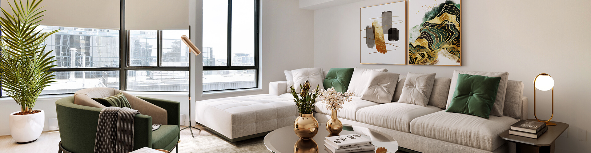Spacious living room at The Carlisle Apartments in Ottawa. Rent with Minto Apartments.