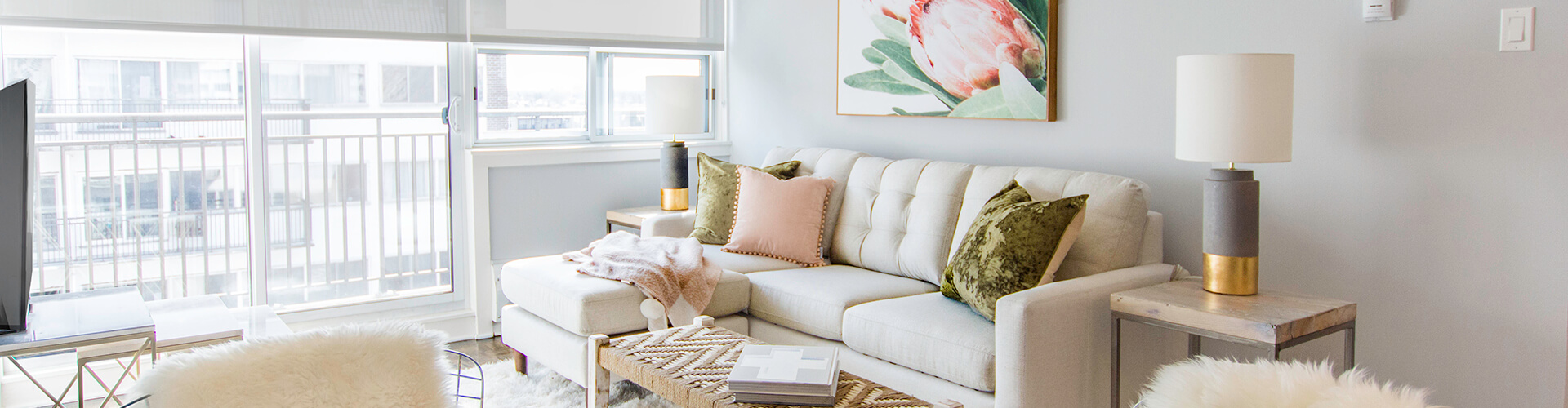 Beautiful living room at The James + Gilmour Apartments in Ottawa. Rent with Minto Apartments.