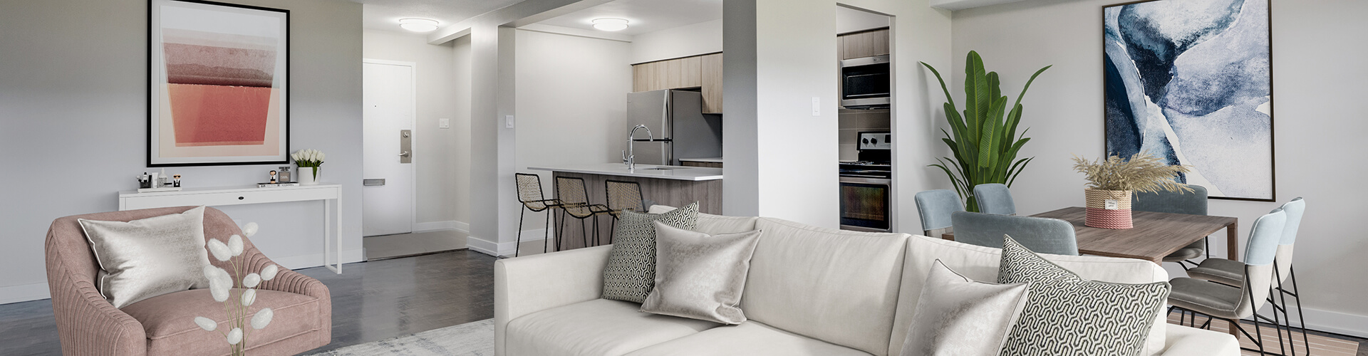 Luminous living room at Leslie York Mills Apartments in Toronto. Rent with Minto Apartments.