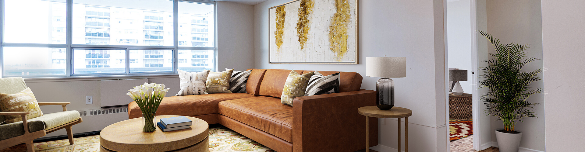 Luminous living room at Richgrove Drive Apartments in Toronto. Rent with Minto Apartments.