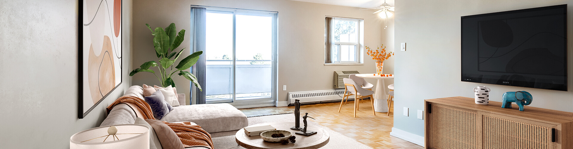 Luminous living room at  The Links Road Apartments in Toronto. Rent with Minto Apartments.