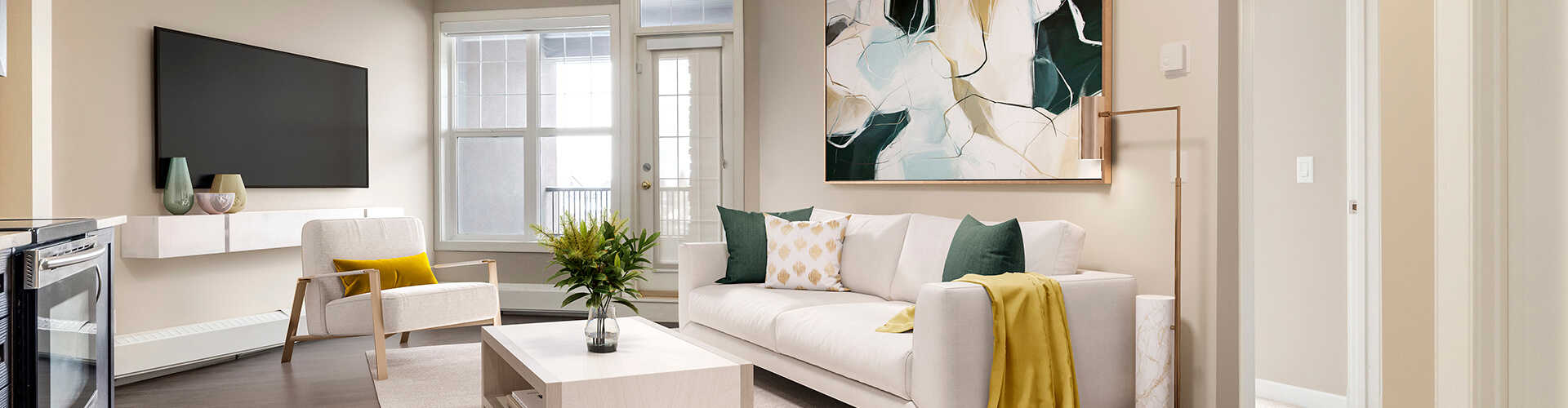 Modern living room at Laurier Apartments in Calgary. Rent with Minto Apartments.
