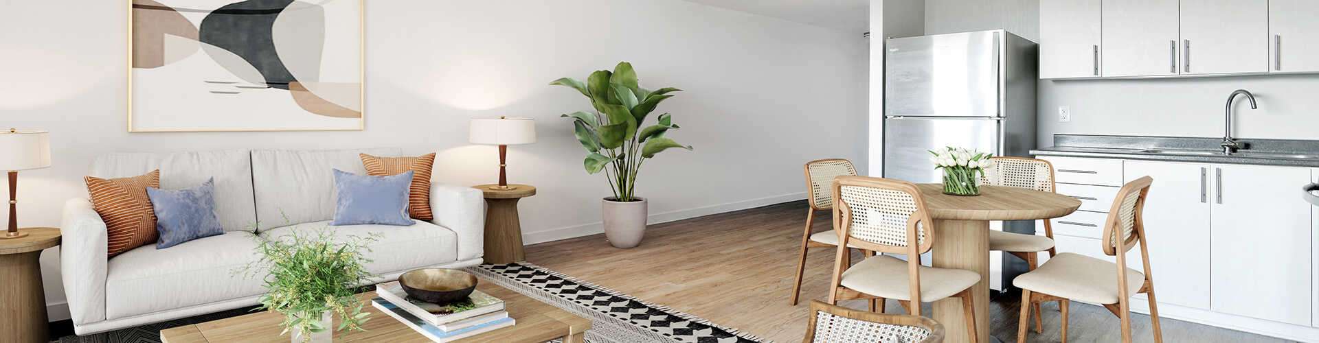 Modern living room at Navaho Walk-ips Apartments in Ottawa. Rent with Minto Apartments.