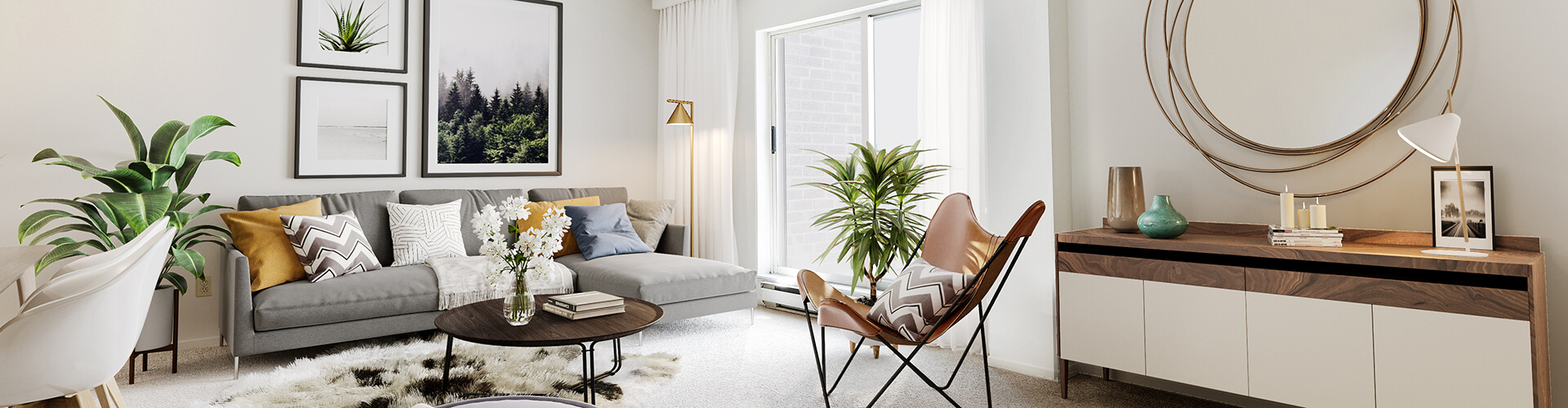 Scandinavian living room at South Centrepointe Apartments, 239 Craig Henry Drive, Ottawa